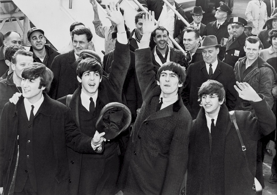 The beatles at Belfast Airport in the 60s